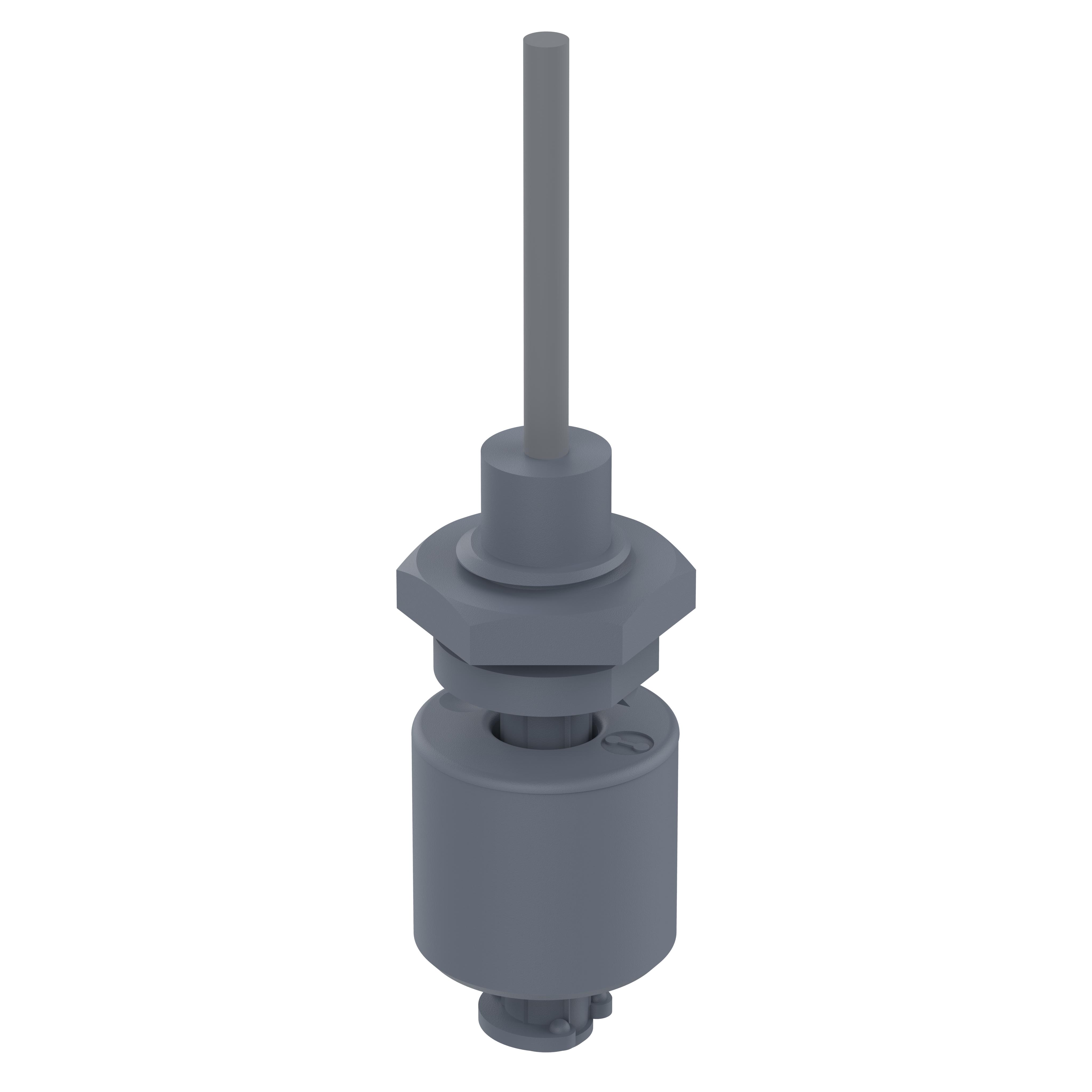 Miniatur Schwimmerschalter - 201021-5 - Öffner, 48V, PVDF, Gewinde PG3/8, 5m Kabel