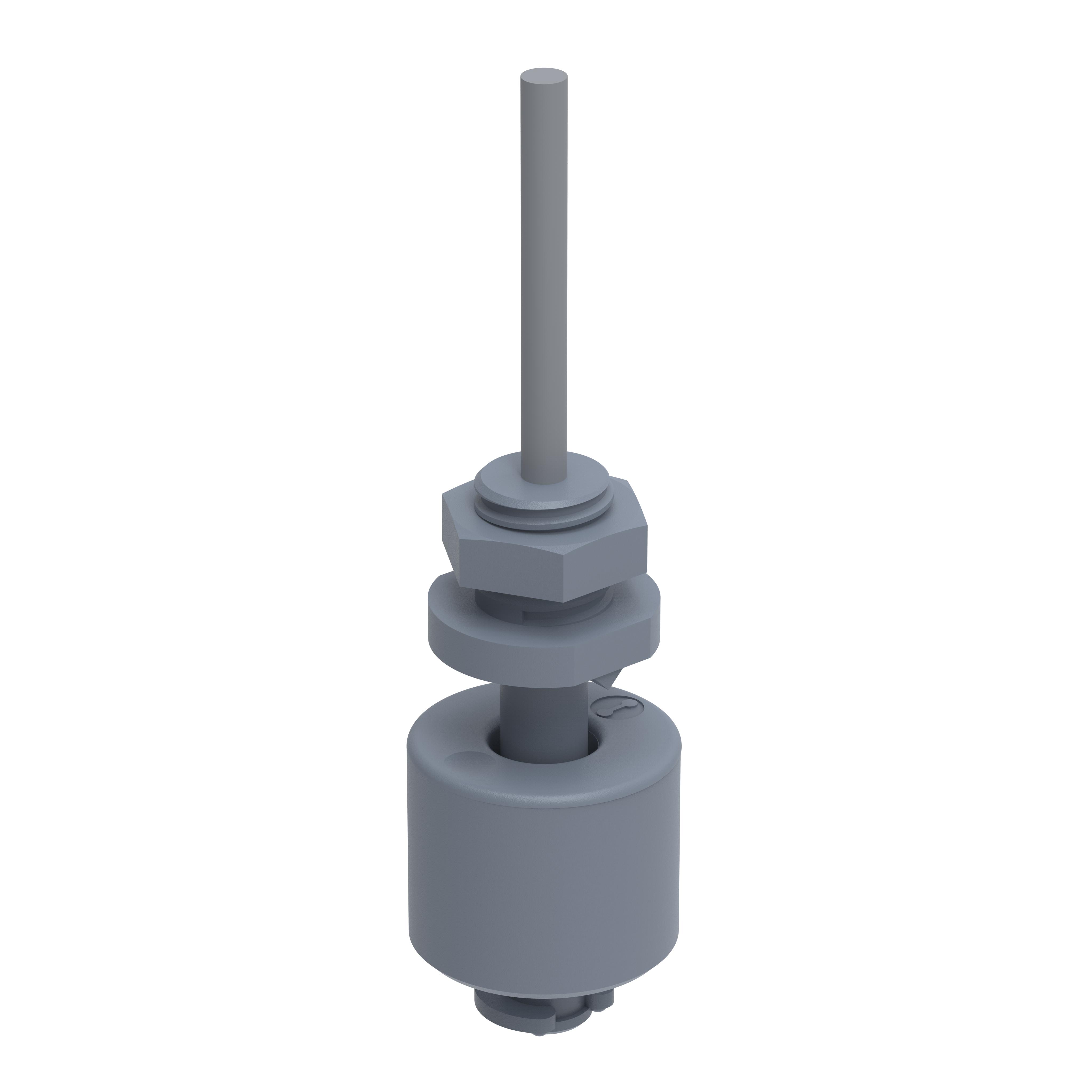 Miniatur Schwimmerschalter - 200022 - Öffner, 48V, PP, Gewinde PG7, 1m Kabel